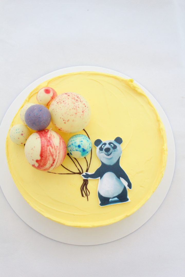 yellow panda mousse cake chocolate baloons