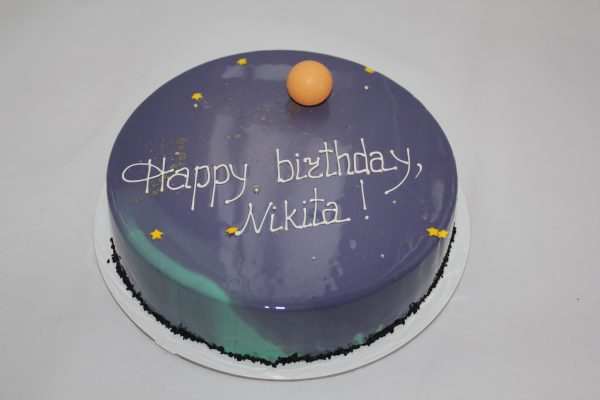 stars planet galaxy mousse mirror cake